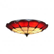 art glass 16 inch red flush