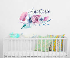 Personalized Girls Name Vinyl Wall Decals Flower Decal Floral Wall Sticker Ba6 Ebay