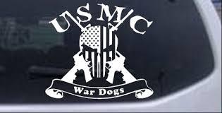 Usmc United States Marine Corps War Dogs Punisher Skull Us Flag Crossed Ar15 Guns Car Or Truck Window Decal Sticker Rad Dezigns