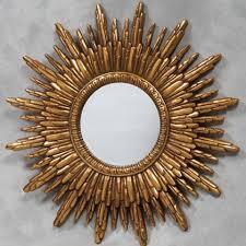 gold round solar mirror round sunburst