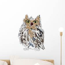 Owl White Vector Illustration Wall Decal Wallmonkeys Com