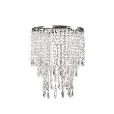 light faux crystal chrome pendant