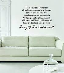 Amazon Com In My Life The Beatles Original Wall Decal Sticker Vinyl Art Bedroom Living Room Decor Decoration Teen Quote Inspirational Cute Music John Lennon Paul Mccartney Lyrics Rock Inspire Home Kitchen