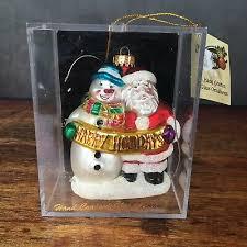 studio handcrafted blown glass santa