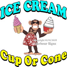 Ice Cream Cup Or Cone Vinyl Decal Monkey Food Concession Harbour Signs
