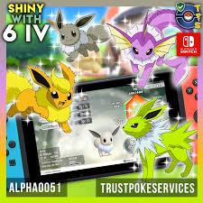Pokemon Let's Go - Shiny 6 IV Eevee Jolteon Flareon Vaporeon - Trust Poke  Services