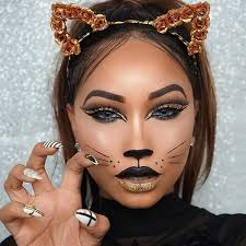 look by applying a cat makeup