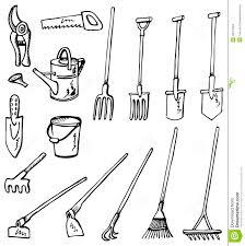 gardening tools drawing at