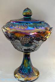 harvest blue carnival glass compote