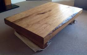 coffee table from new oak railway sleepers