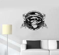 Ed533 Wall Stickers Monkey Astronaut Space Helmet Diving Decor Vinyl Decal