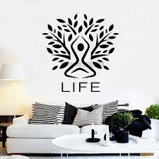 Life Logo Vinyl Tree Styling Wall Decal Nature Murals Large Tree Silhouette Meditation Yoga Zen Room Wall Decor Stickers Lc1026 Wall Stickers Aliexpress