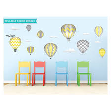 Hot Air Balloons Fabric Wall Decals Standard Size Pink Contemporary Wall Decals By Sunny Decals