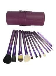 makeup brush set purple black