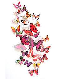 12 Set Pvc 3d Butterfly Decal Wall Stickers Kids Room Decor Decoration Sticker Red Esrokyuc 98