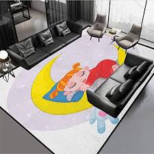 Cartoon Kids Area Rug Home Decorate Floor Playing Mat Girl On Moon With Her Teddy Bear Sleeping Luna Night Dream Artful Red Yellow Grey 78 By 60 Educational Toys Planet