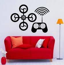 Drone Wall Decal Wall Vinyl Sticker Uav Home Interior Etsy