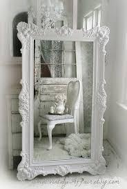 furniture white baroque floor mirror