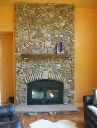fireplace with river rock waves