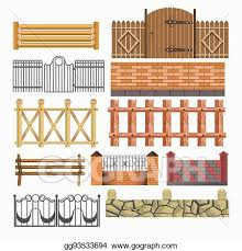Vector Art Gate Fences And Hedges Metal Stone Wood Vector Icons Set Clipart Drawing Gg93533694 Gograph