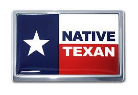 Native Texan Flag Chrome Emblem Elektroplate