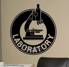 Laboratory Wall Decal Chemistry Microscope Vinyl Sticker Art Decor Home Room Interior Design Window Bedroom Mural H65cm X W57cm Room Design Vinyl Stickersdecoration Home Aliexpress