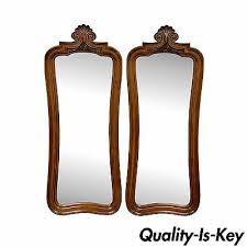 pair vintage hollywood regency walnut