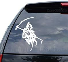 Amazon Com Death Skull Grim Reaper Decal Sticker Car Truck Motorcycle Window Ipad Laptop Wall Decor Size 05 Inch 13 Cm Tall Color Gloss White Home Kitchen