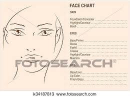 makeup artis blank face charts drawing