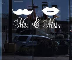 Window Vinyl Wall Decal Mr And Mrs Mustache Lips Bedroom Decor Sticke Wallstickers4you