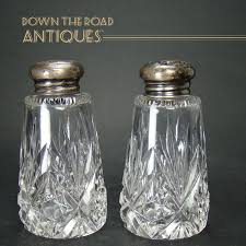 cut glass salt and pepper shakers with