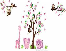 Nursery Wall Decals Baby Girl S Nursery Decals Pink Animal Wall Stickers Kids Room Decorations Removable And Reusable Wall Decals Baby