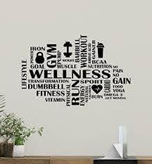 Amazon Com Fitness Words Cloud Gym Wall Decal Wellness Motivational Fitness Vinyl Sticker Inspirational Wall Decor Fitness Motivation Quote Sport Wall Art Training Workout Wall Mural 91fit Kitchen Dining