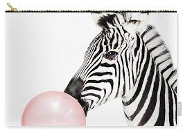 Zebra Pink Bubble Gum Minimalistic Modern Art Kids Room T Bottom Pouch For Sale By Julia Emelianteva Large 12 5 X 8 5