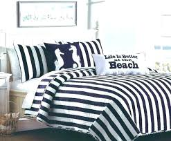 blue and white striped quilt post