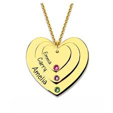 heart necklace with birthstones gold plated