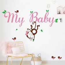 Cute Handmade Custom Birds Monkey With Personalized Baby Girl Name Vinyl Wall Decal Stickers For Baby Girl Nursery Wall Decor Decal Wall Sticker Stickers And Decalsdecal Paper For Glass Aliexpress