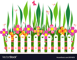 Fence With Spring Flowers Royalty Free Vector Image