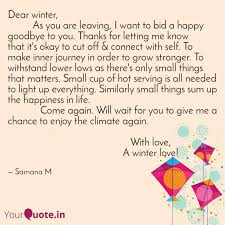 dear winter as quotes writings by samana m yourquote