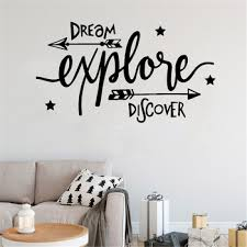 New Arrivals Dream Explore Discover Adventure Kids Quote Wall Sticker Decal Removable Vinyl Nursery Art Mural Home Decor Leather Bag