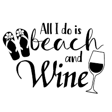 All I Do Is Beach And Wine Vinyl Decal Sticker Pink Pineapple Design
