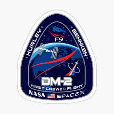 Spacex Nasa Crew Dragon Dm 2 Mission Patch Sticker By Visuaworks Redbubble