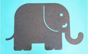 Felt Kids Rug Elephant Animal Shape Decorative Carpet For Children S Room Or Baby Nursery By E Glue