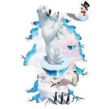 3d Polar Bear Penguin Snowman Wall Stickers Home Decor White Bear Yeti Glacier Funny Nursery Wall Graphic Poster Wall Sticker Stickers Home Decorstickers Home Aliexpress