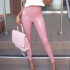whole pink faux leather pants