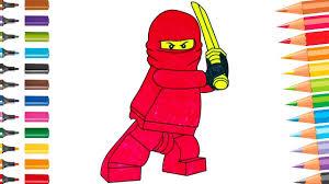 Lego Ninjago Kai Red Ninja Fun Coloring Pages for Kids - YouTube