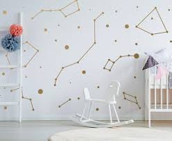 Constellations Vinyl Wall Stickers Zodiac Star Space Ceiling Art Decals Gold Circle Dot Stars Astrology Set Kids Cool Decorative Sign Decords Tm