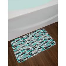 grey and turquoise bath rug in 2020