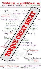 mcat torque study guide cheat sheet