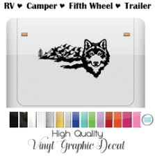 Wolf With Extended Mountain Scenery By Shop Vinyl Design For Rv Camper Trailer And More